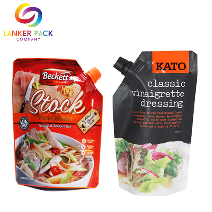 Custom Printed Doypack Sauce Plastic Packaging With Spout