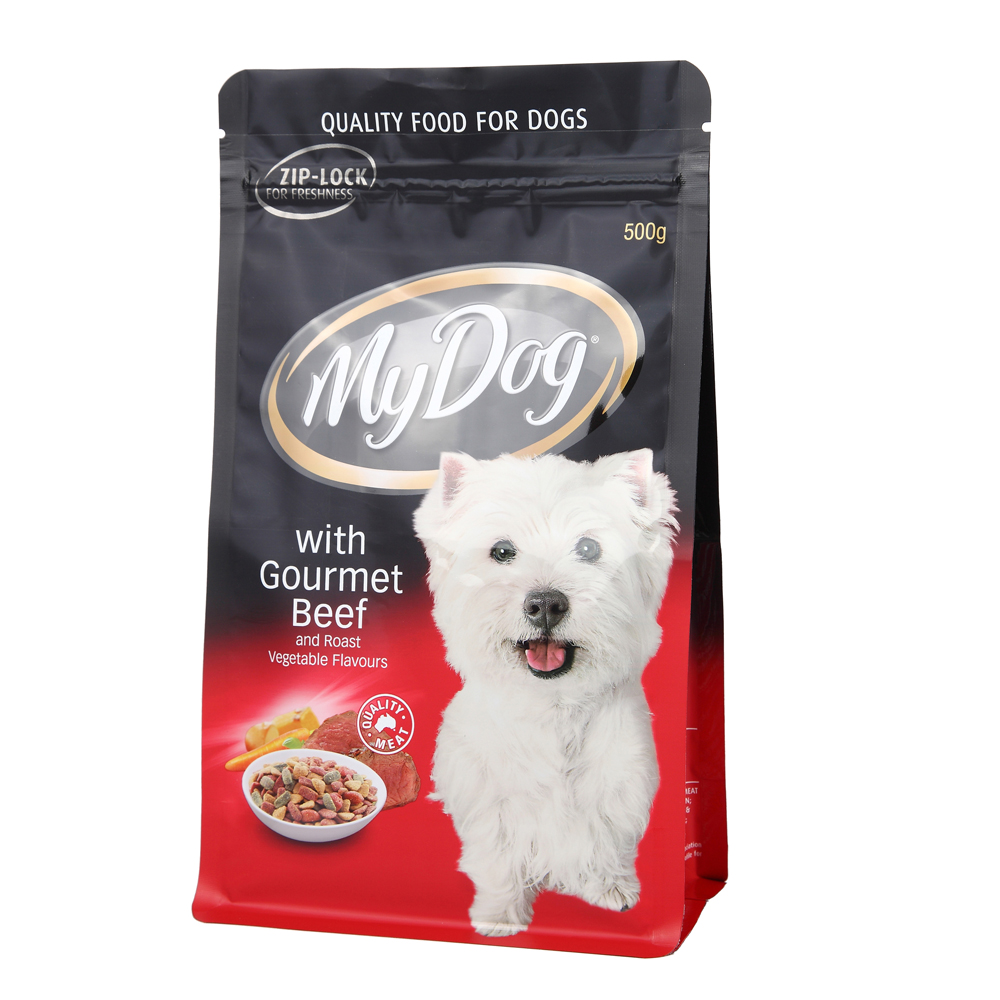 Plastic Flat Bottom Zipper Bag For Pet Food