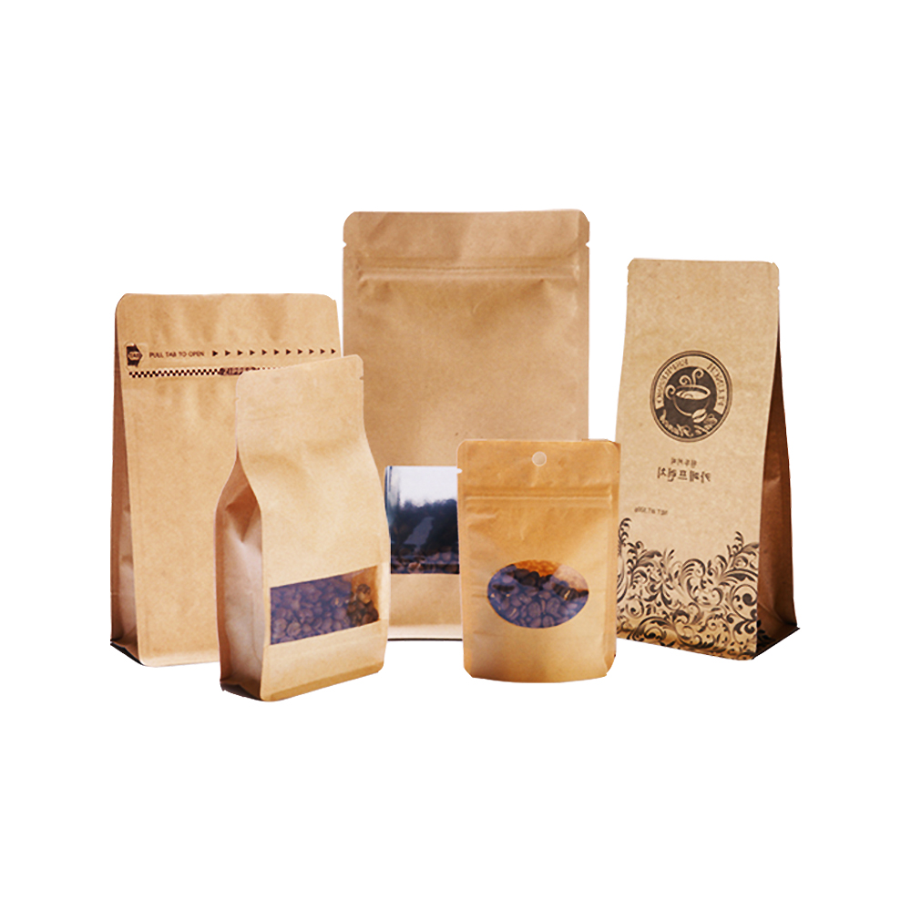 Air-proof Kraft Paper Pouch For Coffee Packaging
